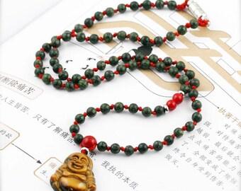 Auspicious Abundance unisex necklace - Russian serpentine, jade and tiger eye.