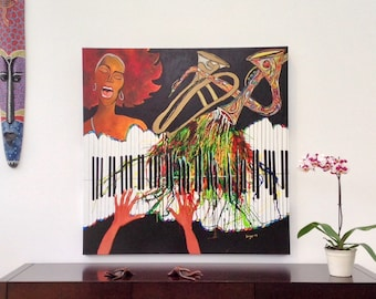Acrylic paint and ink on Canvas 3D color Jazz China