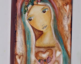 Heart of Mercy -   Giclee print mounted on Wood (4 x 5 inches) Folk Art  by FLOR LARIOS