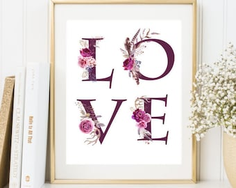 Nursery Love Print Love wall art Boho Nursery Print Love wall decor Nursery Room decor Printable wall art Housewarming gift Instant download