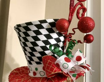 Top Hat - Christmas Tree Topper - FREE SHIPPING - Tree Topper Bow - Tree Topper Top Hat - Top Hat Tree Topper - Christmas Decoration