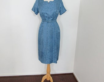 Early 1960s Lightweight Sky Blue Brocade Wiggle Dress with Matching Jacket & Belt and Rhinestone Details