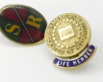 Vintage Lapel Pins - Society of Notaries and SR