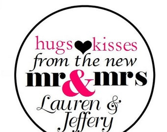 "108 324 648 PERSONALIZED .75"" 3/4 Inch Wedding Candy Kiss Favor Labels Hugs Kisses Mr Mrs"