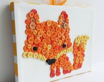 Button Art, Animal, Fox, Orange, Wrapped Canvas, 8x10