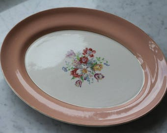 Peach-rimmed with gold small platter