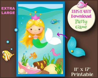 Pin the tail on the mermaid printable party games mermaid pin the tail on the mermaid printable mermaid game instant download mermaid party pool party games cute mermaid party undersea party maxwellsz