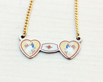 Gold Heart Necklace - Yellow and Orange