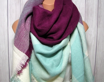 Blueberry  Mint Blanket Scarf,  Scarves for Women, Winter Accessories, Elegant Gifts for Her