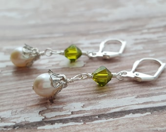 White Freshwater Pearl and Green Crystal Earrings - Green Swarovski Crystal - Wedding Drop Earrings - Formal Earrings - Leverback