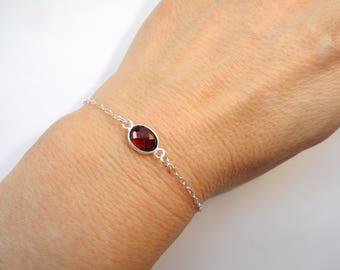 Sterling Silver garnet bracelet, Garnet bracelet, Silver bracelet, Gemstone bracelet, January birthstone bracelet, Gifts