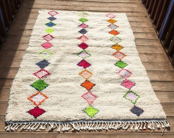 Azilal rug, Moroccan berber rug, 4.3x6.3 Ft 130x190 Cm, beni ourain rug, vintage moroccan rug, wool berber carpet, moroccan style rug