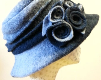 Handmade Blue Felted Wool Hat With Cosy Fleece Lining and Flower Detail