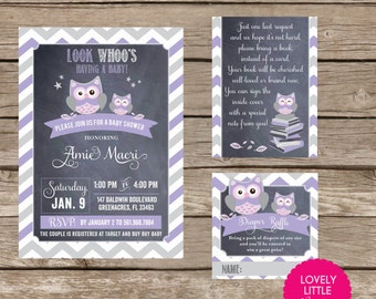 Printable Owl Themed Baby Shower Collection - Invitation, Diaper Raffle and Book Cards - Lovely Little Party