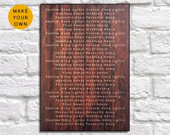 Custom wedding gift for him Wood wall art Song lyric Wedding gift for Men gift for Couple Gift for Women gift for her Panel effect wood sign