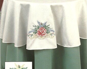 Bucilla:  Elegant  Rose Roumd Table-Topper (Stamped Cross Stitch)