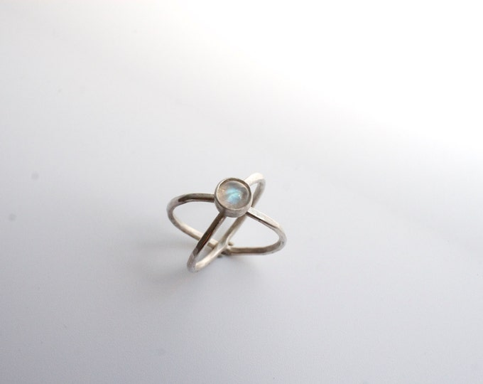 moonstone crossed ring