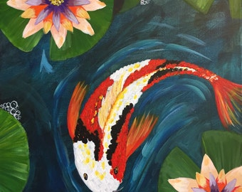 Painting - Koi with Water Lilies - 16 x 20 Colorful Acrylic Painting - Gallery Wrapped Art - ORIGINAL Painting by Donna Edwards