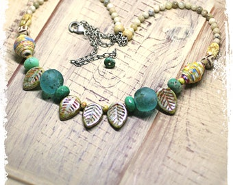 Boho Chic Leaf Necklace, Bohemian Necklace for Women, Short Boho Necklace, Paper Anniversary