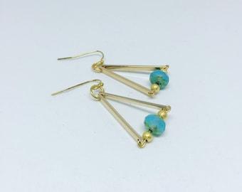 Modern Class Earrings-gold triangle-earrings for her
