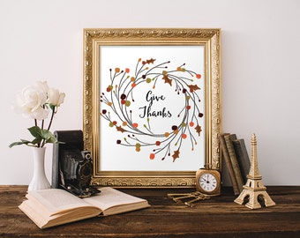 Give Thanks Fall Wall Art Fall Decor Fall Flowers Fall Quotes Autumn Decor Apartment Decor Home Decor Autumn Wall Art Thanksgiving Decor