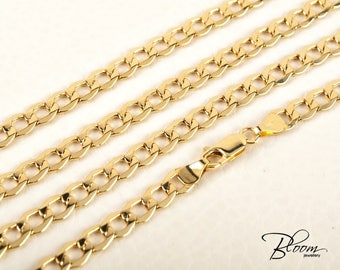 Mens Curb Chain 14K Gold Chain Necklace Mens Gold Necklace Yellow Gold Chain BloomDiamonds