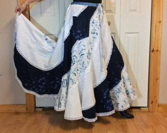 RESERVED Boho Floral Maxi Skirt with Pocket/Navy and White Skirt/Long Skirt/Upcycled Recycled Repurposed/Womens Spring Skirts/One Size L-XL