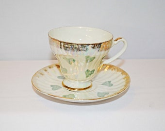Fine China Lusterware Green Hearts Tea Cup and Saucer Gold Plated made in Japan