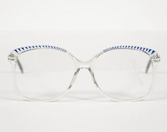 Renato Balestra NOS 1970er Jahren Bilderrahmen Vintage klarer Kunststoff w / blaue und weiße Akzente Brille