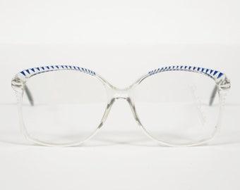 Renato Balestra NOS 1970s Vintage Clear Plastic w/ Blue & White Accents Eyeglasses Frames