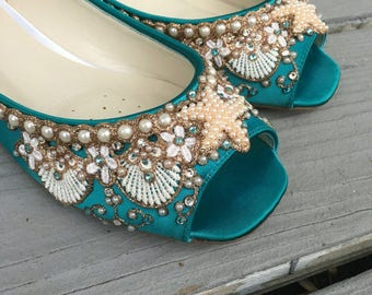 SALE - Size 7 Mermaid Peep Toe Flats - Lace, Crystals and Pearls