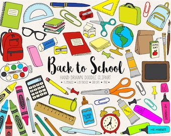 Back To School Clipart. Hand Drawn School Clip Art. Office Supplies, Teacher, Student Clipart. Doodle Stationery, Backpack, Paint  (0010)
