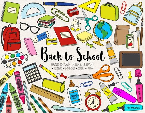 back to school clipart hand drawn school clip art office supplies rh etsystudio com back to school clip art free printable back to school clip art borders