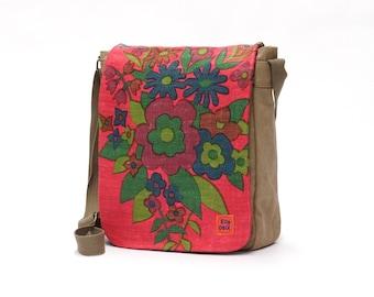 Jena - Vintage Fabric Upcycled Canvas Bag - Messenger Bag - Retro Crossbody Bag by EllaOsix