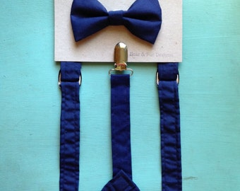 Adult Mens Suspender bow tie set Navy Blue