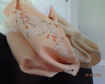 Peach and White Silk Infinity Scarf