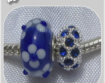 MIX 2 DONUT & sapphire blue glass RHINESTONE snake CHARM beads * D615