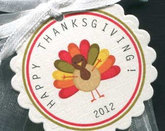 Thanksgiving Favor Tags, turkey, set of 25