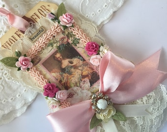 Marie Antoinette Gift Tag, Mixed Media Art Tag, French Rose Art Tag, Bridesmaid Gift, Wedding Gift Topper