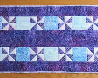 Handmade Quilted Table Runner, Batik Quilted Table Runner, Purple Teal Blue Table Runner, Quilted Centerpiece, Shower Gift, Quiltsy Handmade
