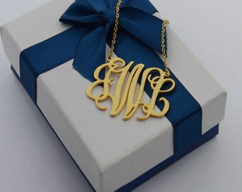 Monogram necklace gold-Christmas necklace-925 silver plated Gold-any initials necklace-Personalized Bridesmaid Gift