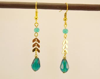 Chain gold metal spike earrings, Teardrop turquoise faceted glass and glass beads