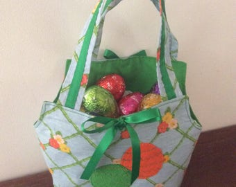 Easter Egg Baskets/Gift Bags, Quality Hand Made, Green Fabric