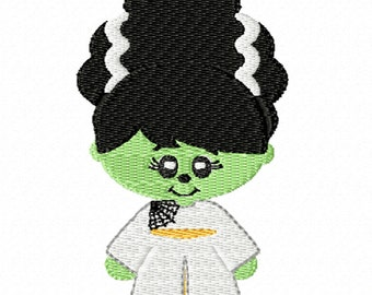 Bride of Frankenstein- Machine Embroidery for Halloween
