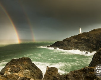 Double Luck. Rainbows over Trevose Head Lighthouse, Cornwall. Seascape Photography Print.