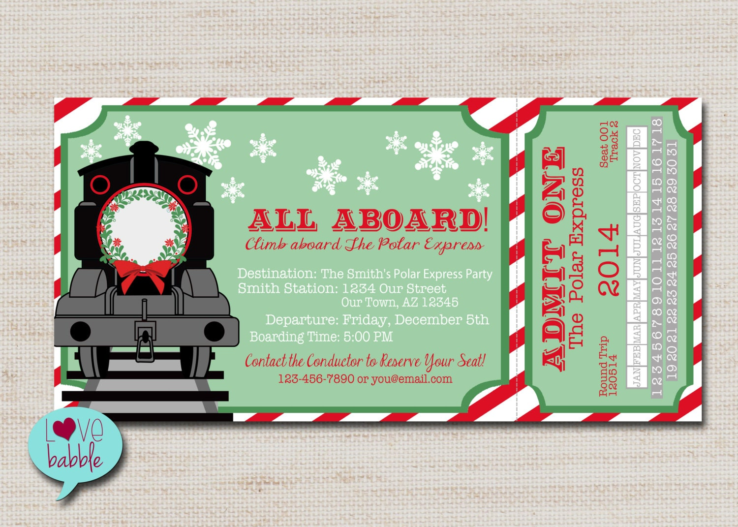 🔎zoom  Christmas Party Ticket Template Free