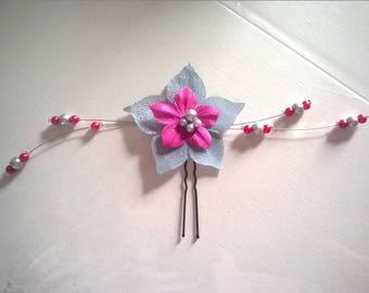 peak bun pin silk flower bridal hair accessory beads grey / pink fuchsia wedding evening ceremony Christmas
