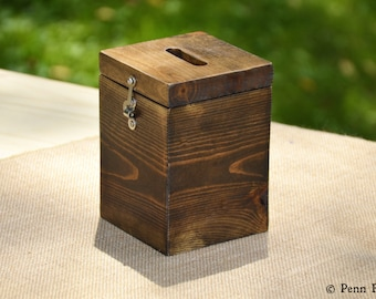 Everyday Rustic Solid Wood Wood Tip Jar Container