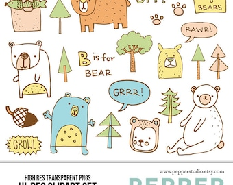 Forest Bears Illustrated Clipart, Scrapbooking Doodles, Kids, Baby, Nursery, Home, Animals, Digital Clipart, Transparent PNGs and EPS Vector