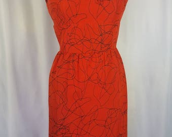 60s Red Wiggle Dress | Novelty Scribble Print | Small | Waist 26-27"
